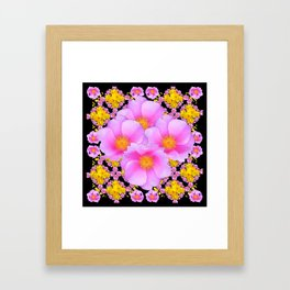 Cerise Pink Roses Black-Gold Floral Pattern Art Framed Art Print