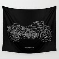 moto Wall Tapestries featuring MOTO GUZZI AIRONE 250, 1939 Original Handmade Sketch, white line on black background by Larsson Stevensem