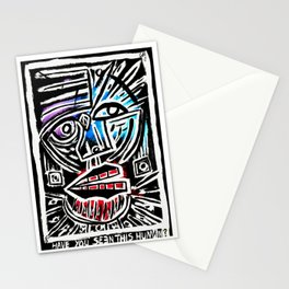 """""""Excuse me?"""" Abstract Face Painting Stationery Cards"""