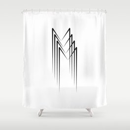 """ Eclipse Collection"" - Minimal Letter M Print Shower Curtain"