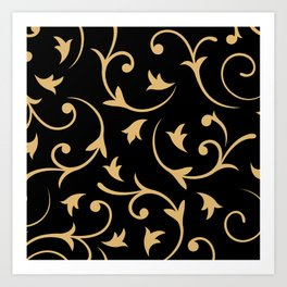 Baroque Design – Gold on Black Art Print