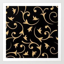 Baroque Design – Gold on Black Art Print