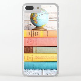 Candy Colored Stack of Books Clear iPhone Case
