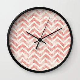 Maritime Navy Chevron Herringbone ZigZag in White Red Wall Clock