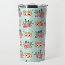Tabby cat florals flowers must have cat themed gifts pet portrait cat lady mint pastel cat art fur Travel Mug