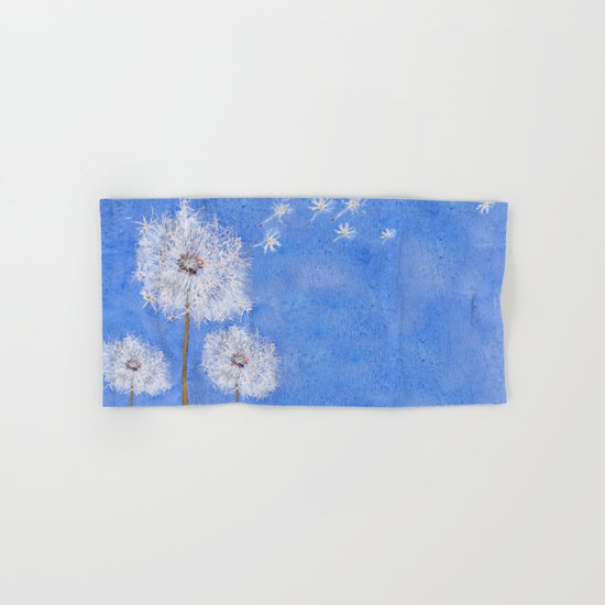 flying dandelion watercolor painting Hand & Bath Towel