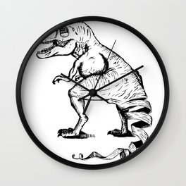 Unravelled T-Rex Dinosaur Wall Clock