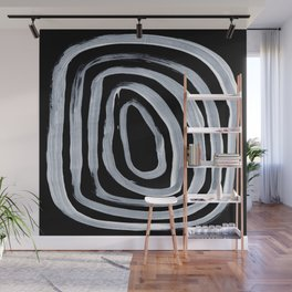 Rings Dark Gothic Black And White Minimalist Ghostly Abstract Art Wall Mural