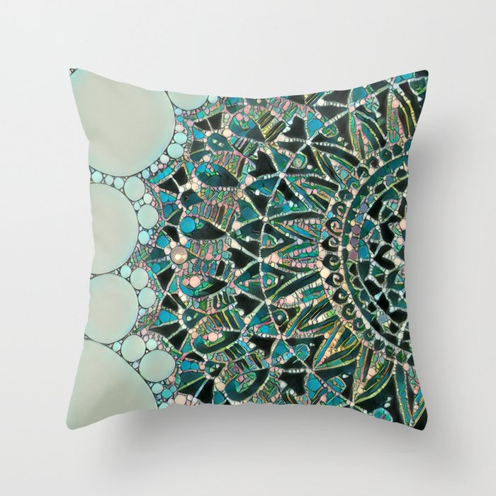 Bloom Mandala in Ocean Throw Pillow