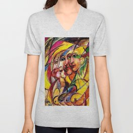 Futuristic Woman Female Form Painting by David Burliuk Unisex V-Neck