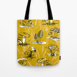 outside in the forest: mushrooms and grasses Tote Bag