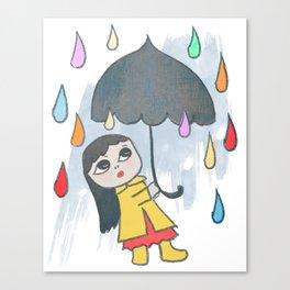 Rainbow of Rain Drops Quirky San Jones Illustration Canvas Print