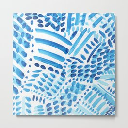 Blue Watercolor Dots and Brush Strokes Metal Print
