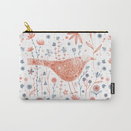 Apricot Bird Carry-All Pouch