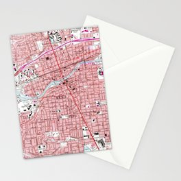 Vintage Map of Reno Nevada (1967) Stationery Cards