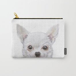 White Chihuahua Original painting print by Miart Carry-All Pouch