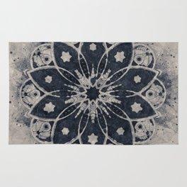 MANDALA BLUE BOHEMIAN GEOMETRIC ABSTRACT Rug