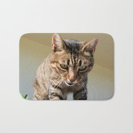 Tabby Cat Looking Down From A Height  Bath Mat