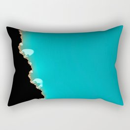 Creeping Teal with a Gold Edge Rectangular Pillow
