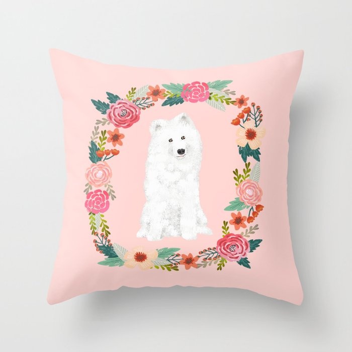 Samoyed dog breed floral wreath pet portrait dog gifts Throw Pillow