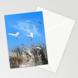 White Egrets in a Morning 1 Stationery Cards