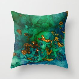 Emerald And Blue Glitter Marble Throw Pillow