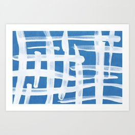 Abstract Lines Painting Blue and White 02 Art Print