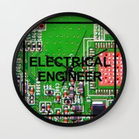 engineer Wall Clocks featuring Electrical Engineer by EEShirts