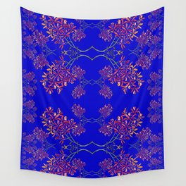 Orchids on Blue Wall Tapestry