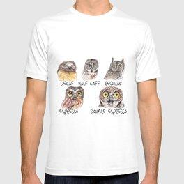 Owl Caffeine Meter -  funny owl coffee T-shirt