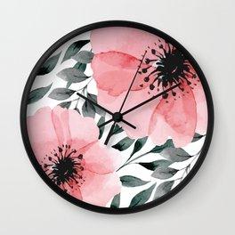 Big Watercolor Flowers Wall Clock