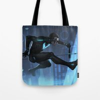 nightwing Tote Bags featuring Nightwing Beyond by Yvan Quinet