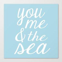 You Me & The Sea - Light Blue Canvas Print