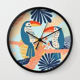 Tropical Jungle Birds Wall Clock