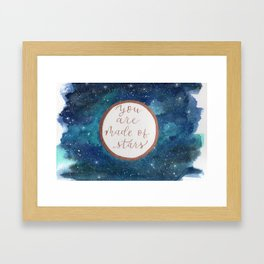 """Your are made of stars"" watercolor galaxy painting with lettering Framed Art Print"
