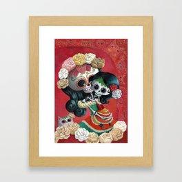 Dia de Los Muertos - Skeleton Mum and Daughter Moment Framed Art Print