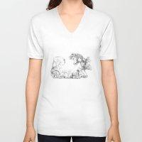 mushrooms V-neck T-shirts featuring Mushrooms by Alexandra Duma D.
