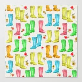 Wellies and Flowers Rainboot Print Canvas Print