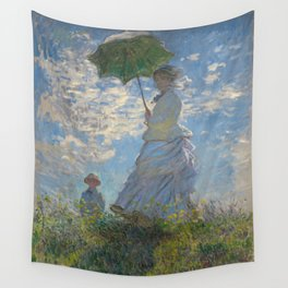 Claude Monet - Woman With A Parasol Wall Tapestry