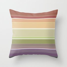 Striped in brown and green tones and a simple pattern . Throw Pillow
