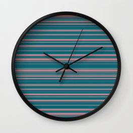 Deep Sea Blue & Pink Candy Lines Wall Clock