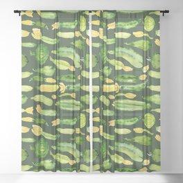 Watercolor zucchini pattern Sheer Curtain