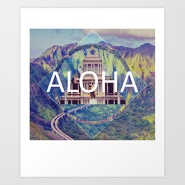 Aloha Blue Geometric Art Print