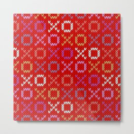XOXO pattern - red Metal Print