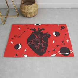 all-seeing eye and heart, galaxies and key Rug