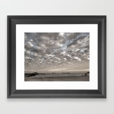 Caught in between a Pier and Lifeguard Tower Framed Art Print