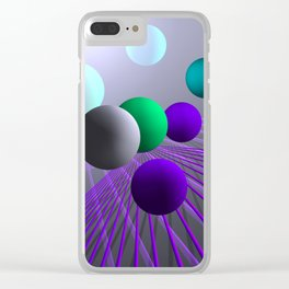 converging lines and balls -3- Clear iPhone Case