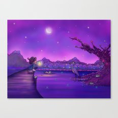 The Unexpected Visitor purple sky Canvas Print