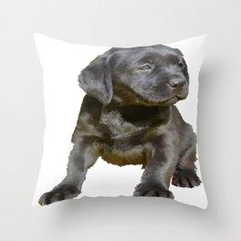 Adorable and Cute Black Labrador Puppy Vector Throw Pillow