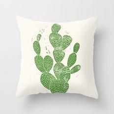 Linocut Cactus #1 Throw Pillow